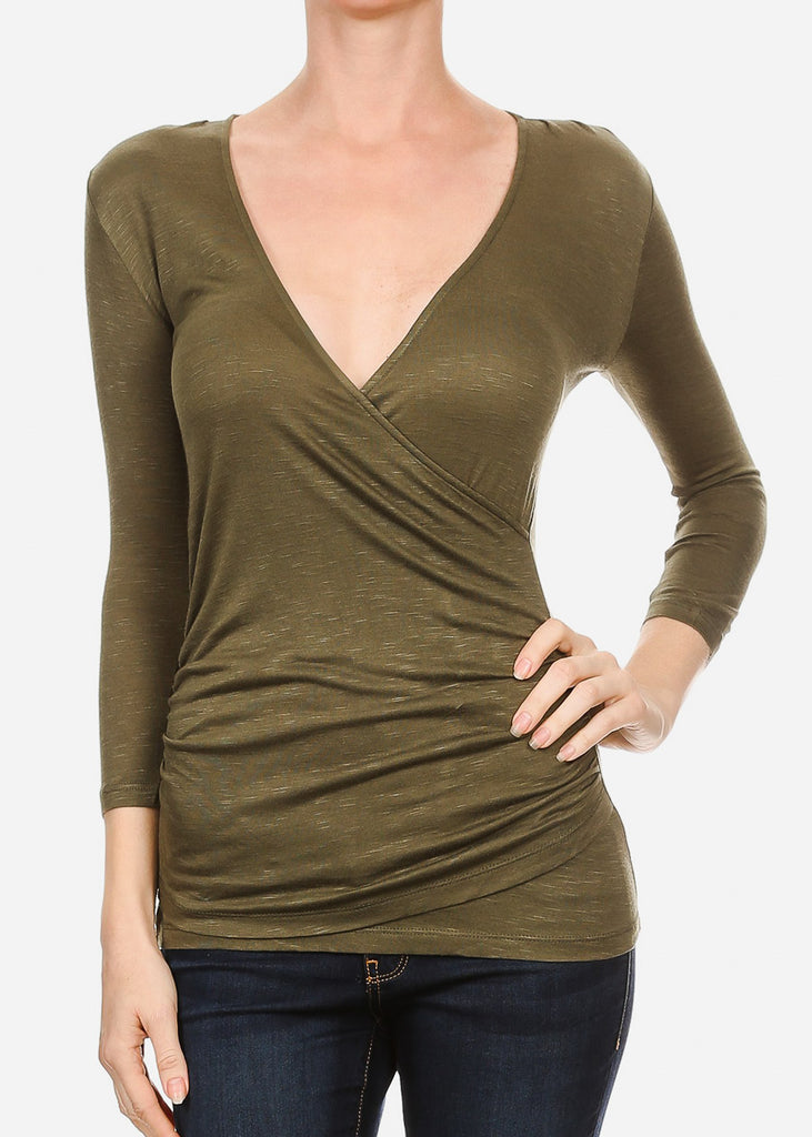 Wrap Front Ruched Olive Top