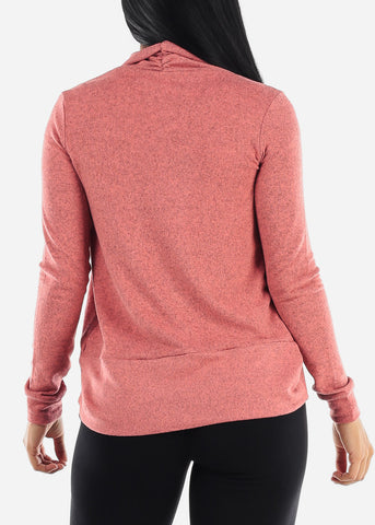 Image of Long Sleeve Open Front Dusty Pink Cardigan