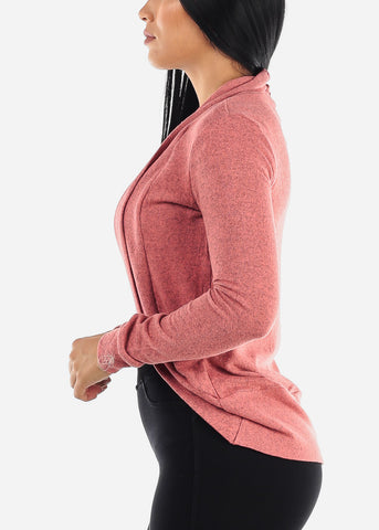 Long Sleeve Open Front Dusty Pink Cardigan