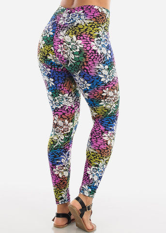 Image of Pink Multicolor Print Leggings L135PNK