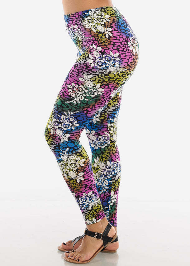 Pink Multicolor Print Leggings L135PNK
