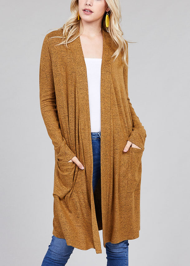 Essential Long Sleeve Open Front Mustard Maxi Cardigan