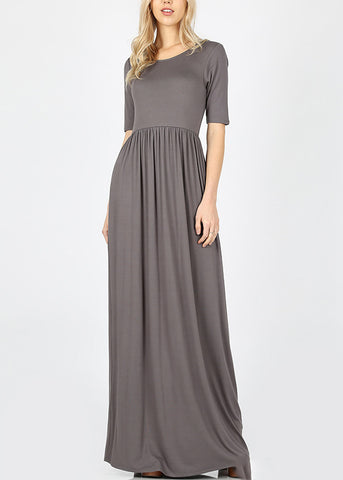 Dark Grey Maxi Dress With Waist Shirring
