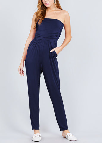 Strapless Navy Jumpsuit