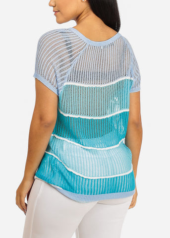See-Through Stripe Print Crochet Top