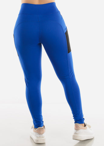Royal Blue Side Pockets Leggings