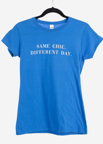 "Royal Blue Graphic Top ""Same Chic"""