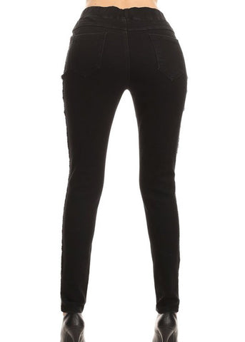 Image of Distressed Black Skinny Jeans