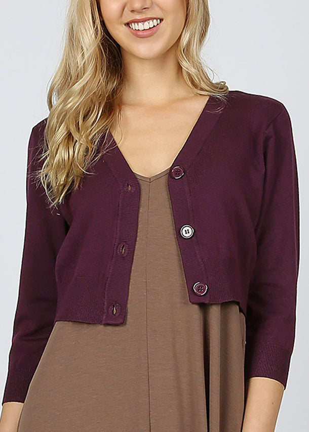 Plum Bolero Cardigan Sweater