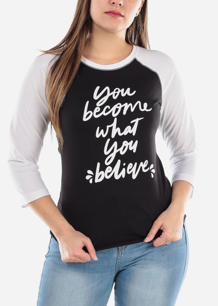"Black Graphic Baseball T-shirt ""Believe"""