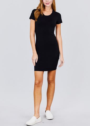 Casual Black Bodycon Mini Dress