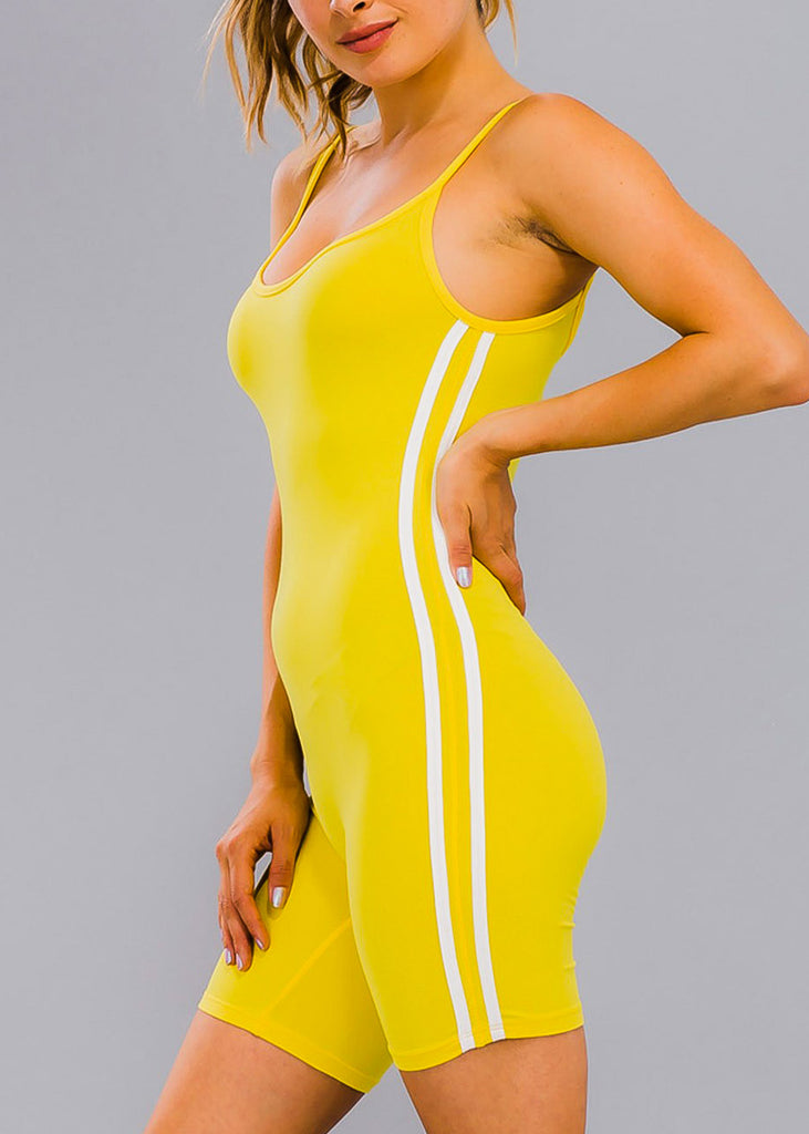 Stripe Sides Yellow Cami Romper
