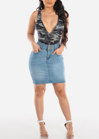 Sexy Sleeveless Grey Camouflage Print Bodysuit For Women Ladies Junior