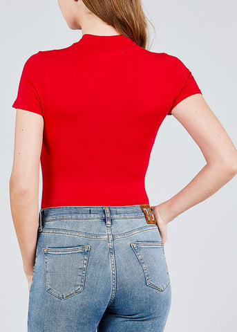 Image of Basic High Neck Red Bodysuit
