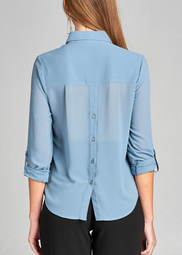 Light Blue Button Up Blouse Top