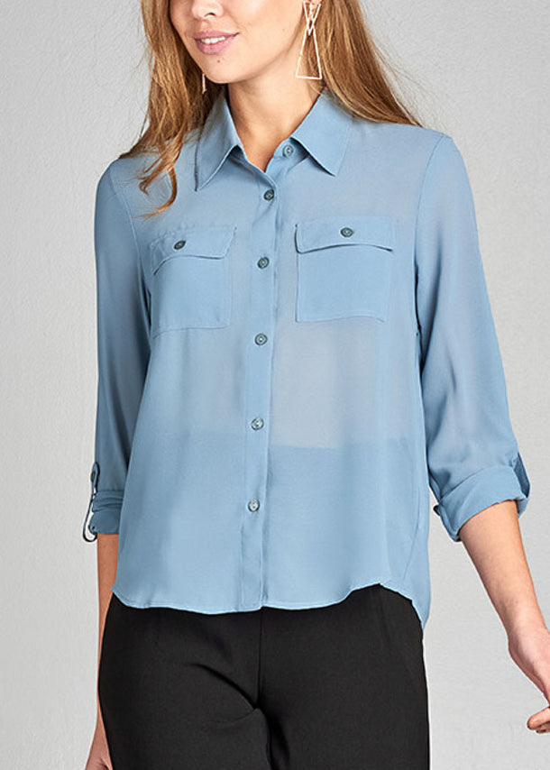 Office Business Wear 3/4 Sleeve Button Up Light Blue Blouse Top