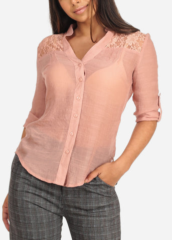 Women's Junior Ladies Stylish Going Out Sexy 3/4 Roll Up Sleeve Floral Lace Detail Button Up Lightweight Mauve Blouse Shirt Top