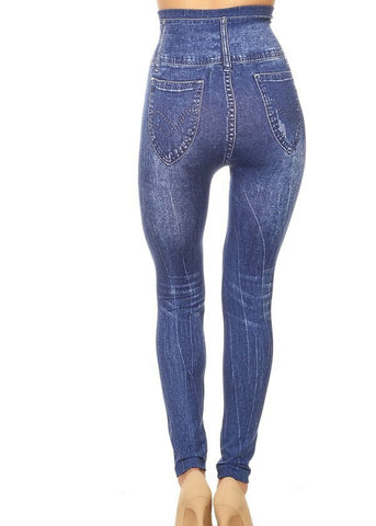 Image of Stretchy Med Wash Faux Jean Leggings