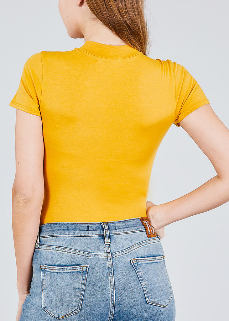 Basic High Neck Mustard Bodysuit