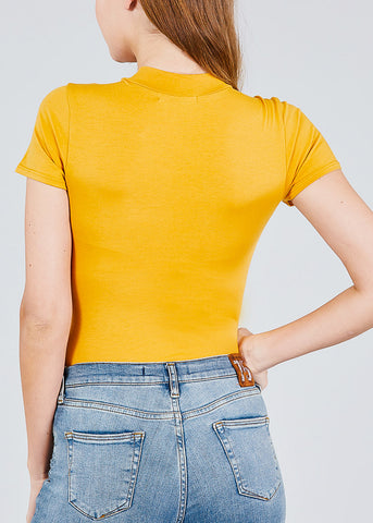 Image of Basic High Neck Mustard Bodysuit