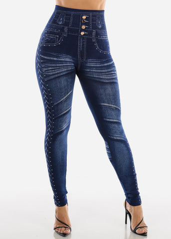 Image of Blue Faux Denim Print Leggings