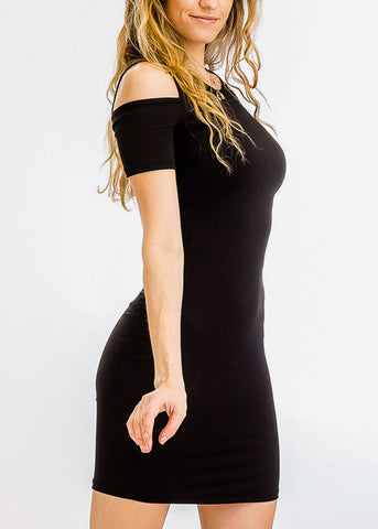 Image of Black Cold Shoulder Bodycon Dress