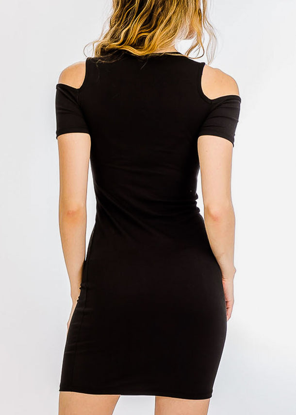 Black Cold Shoulder Bodycon Dress