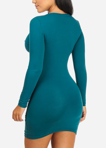 Plunge Neck Teal Bodycon Dress