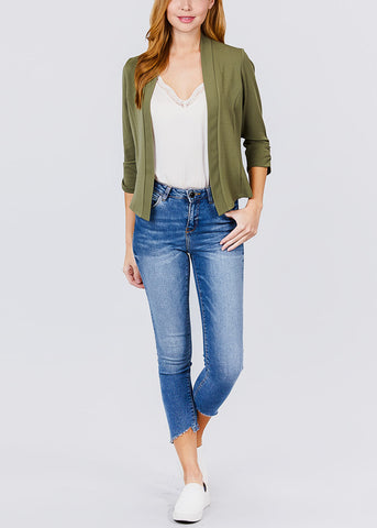 Three Quarter Olive Open Front Blazer