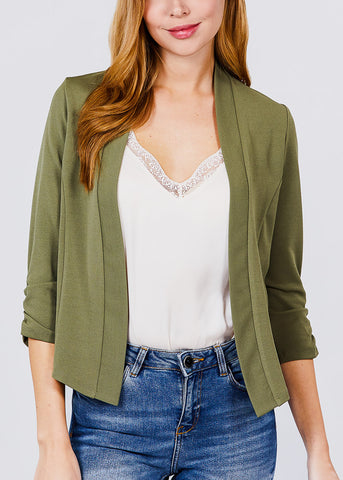 Image of Three Quarter Olive Open Front Blazer