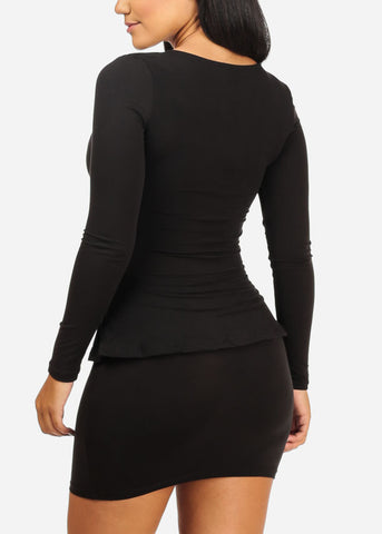 Ruffle Detail Bodycon Black Dress