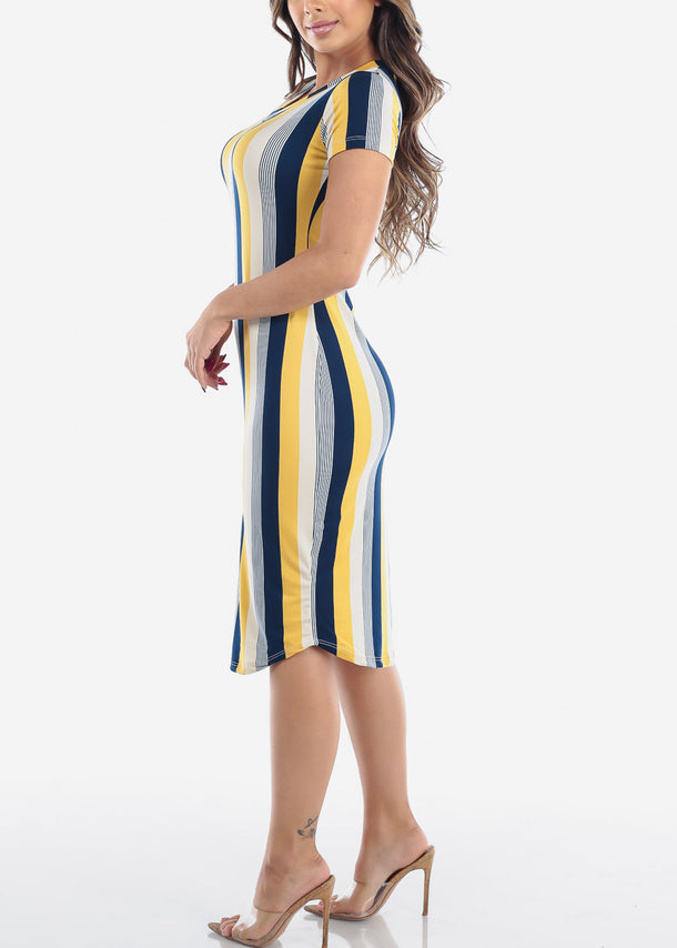 Stripe Yellow Bodycon Dress