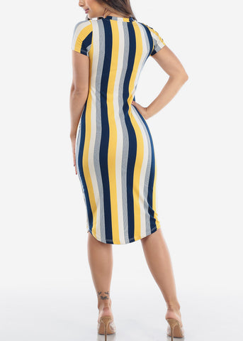 Image of Women's Junior Ladies Sexy Must Have Fashionable Beach Vacation Casual V Neck Yellow Stripe Bodycon Midi Dress