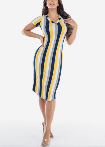 Women's Junior Ladies Sexy Must Have Fashionable Beach Vacation Casual V Neck Yellow Stripe Bodycon Midi Dress
