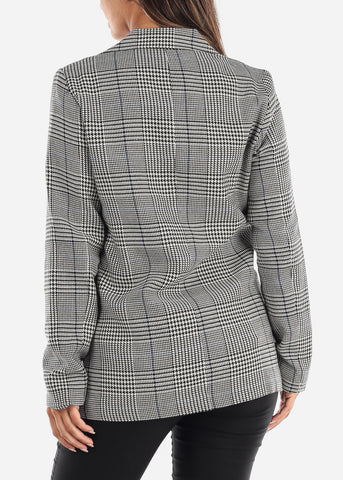 Image of Blue Houndstooth Print Blazer