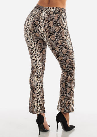 Image of High Rise Snake Print Brown Pant