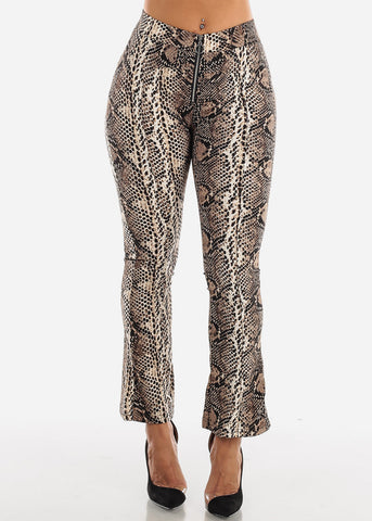 High Rise Snake Print Brown Pant