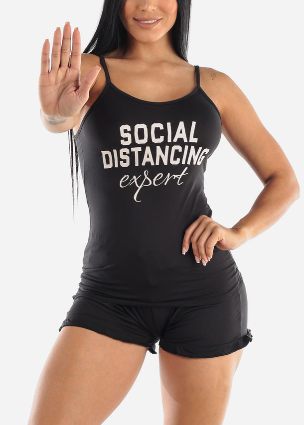 "Black ""Social Distancing Expert"" PJ Set"