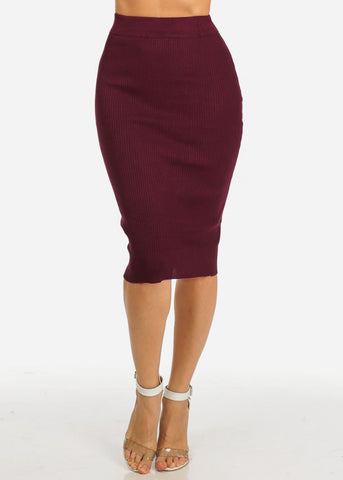 Stretchy Wine Pencil Midi Skirt