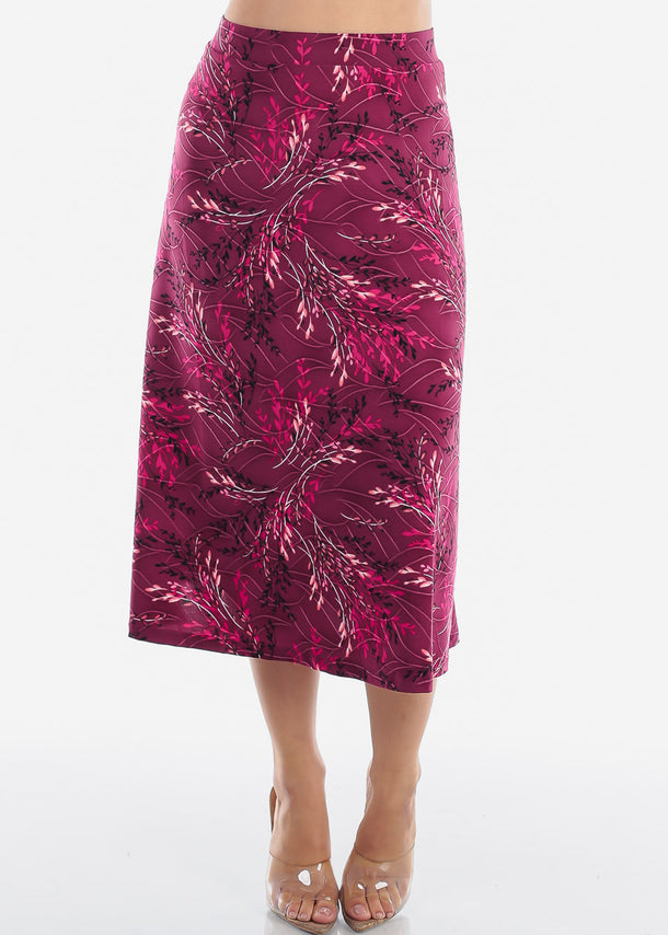 Fit & Flare Floral Burgundy Skirt