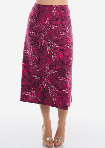 Fit And Flare Stretchy Flowy High Waisted Career Office Professional Wear Floral Print Burgundy Midi Skirt