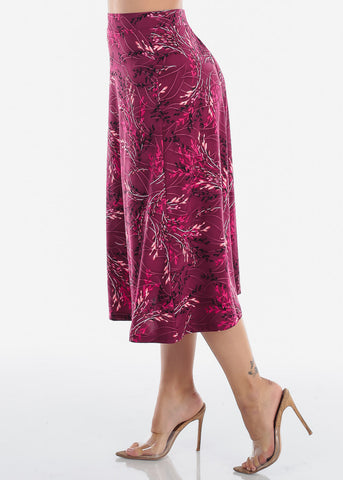 Image of Fit And Flare Stretchy Flowy High Waisted Career Office Professional Wear Floral Print Burgundy Midi Skirt