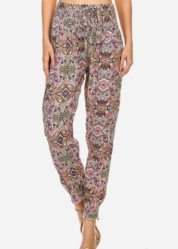 Printed Lightweight Pink Jogger Pants