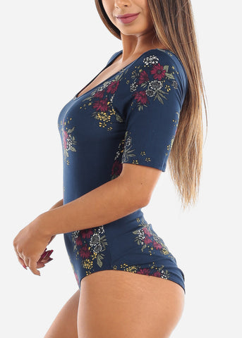 Image of Women's Junior Ladies Casual Cute Going Out Navy Floral Print Bodysuit
