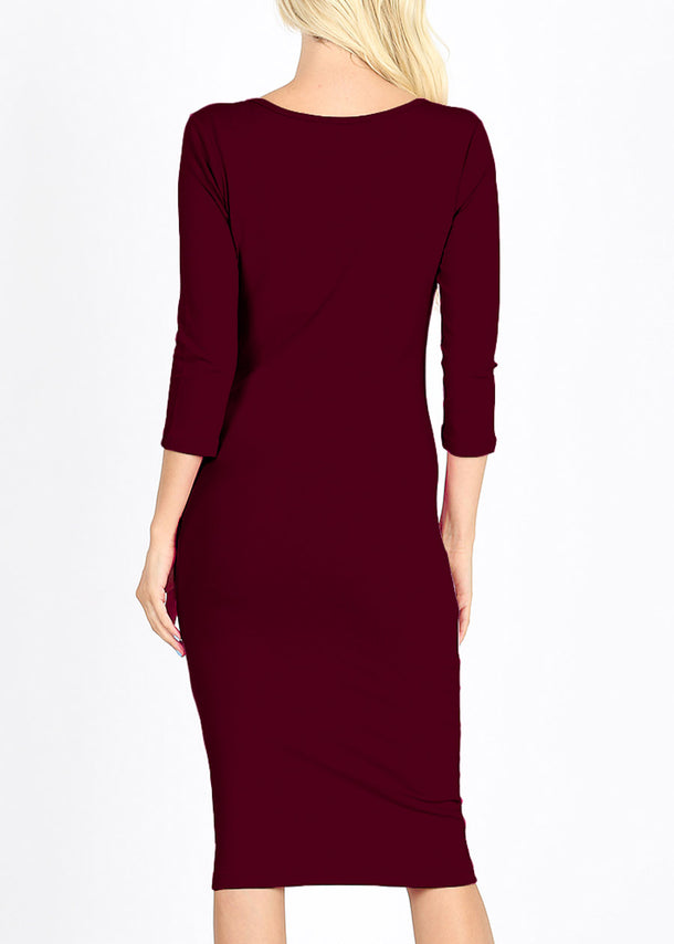 Quarter Sleeve Burgundy Bodycon Dress