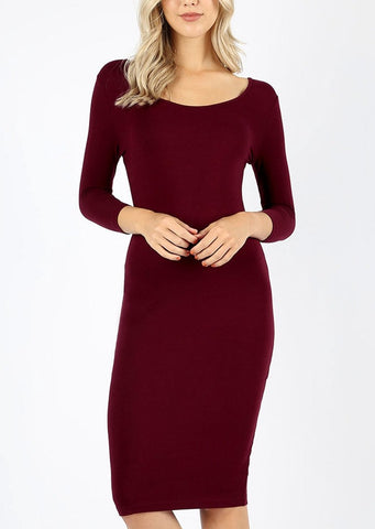 Image of Discount Burgundy Bodycon Dress