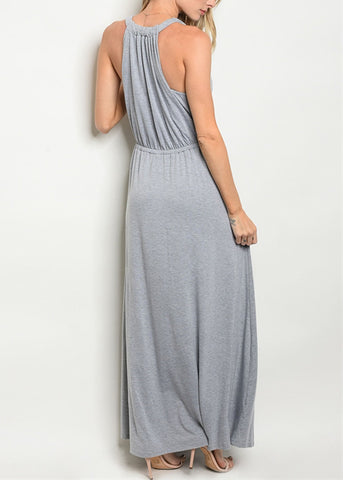 Image of Drape Neckline Grey Maxi Dress