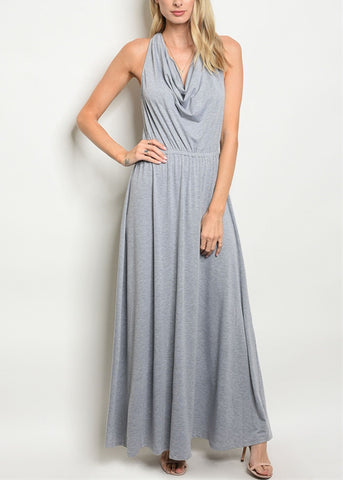 Drape Neckline Grey Maxi Dress