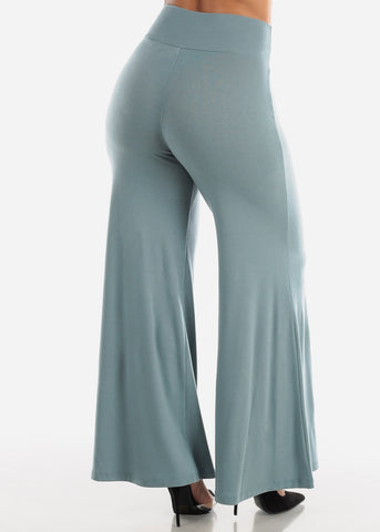 Image of High Rise Blue Grey Palazzo Pants