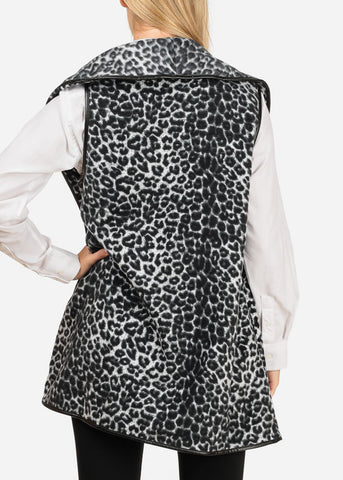 Women's Junior Trendy Animal Cheetah Print Sleeveless Coat Jacket Blazer